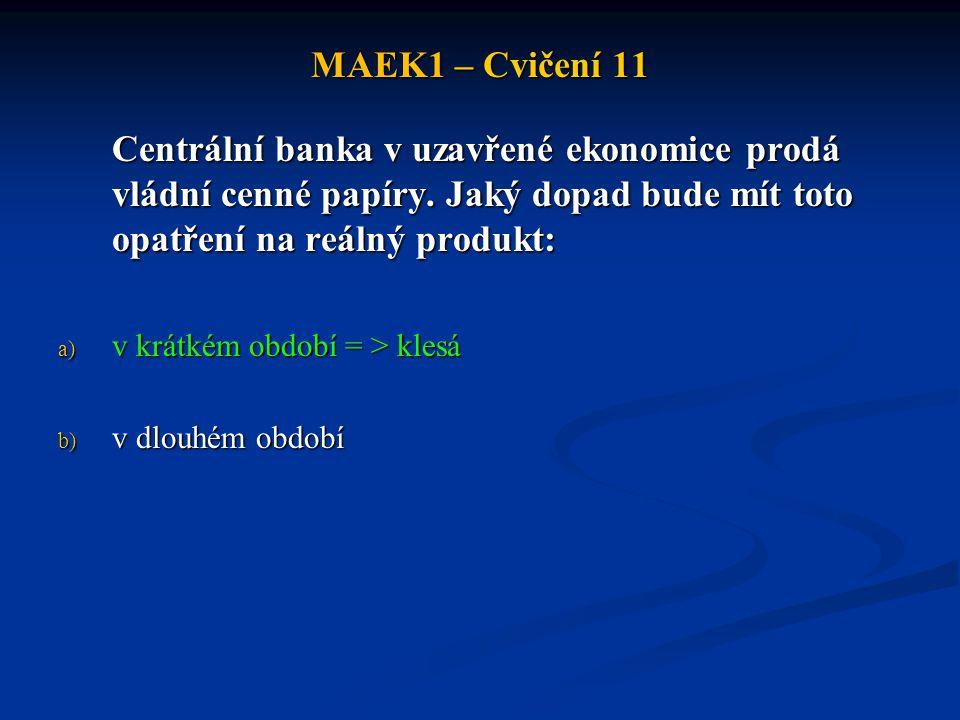 MAEK1 – Cvičení 11 Centrální banka v uzavřené ekonomice prodá vládní cenné papíry.