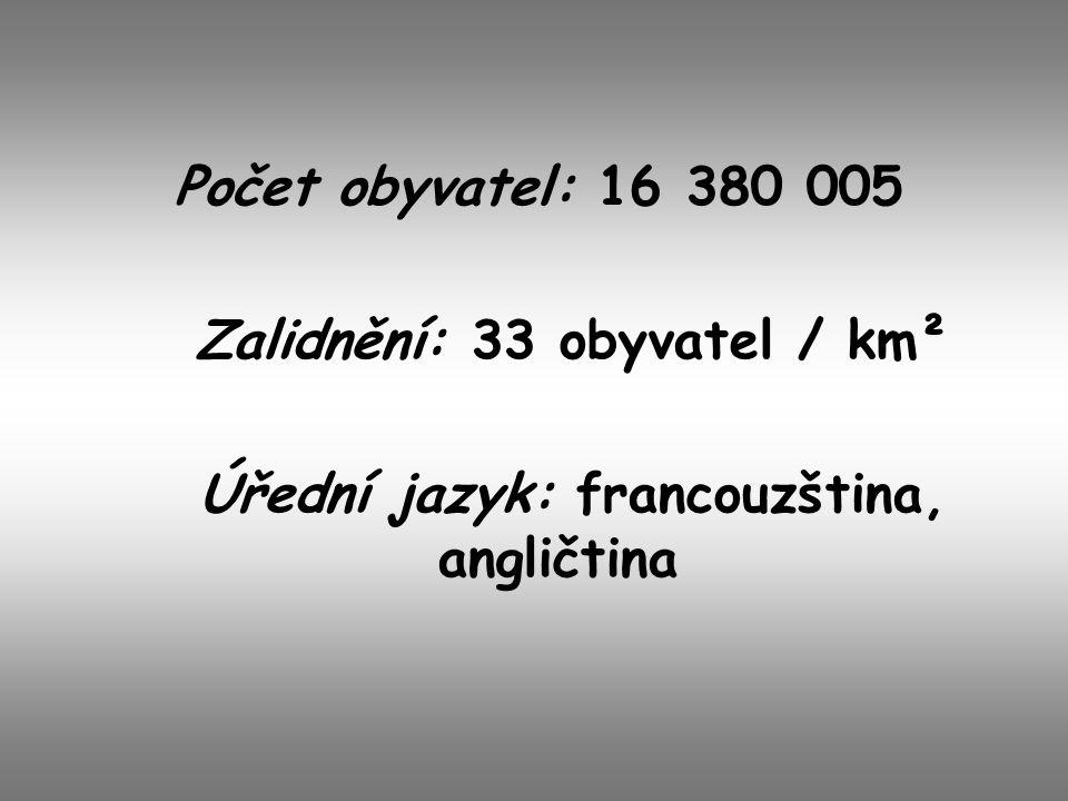 Počet obyvatel: 16 380 005 Zalidnění: 33 obyvatel / km² Úřední jazyk: francouzština, angličtina