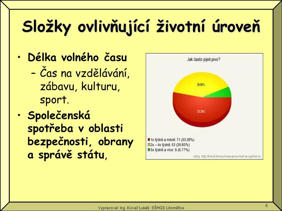 Vypracoval: Ing. Kovač Lukáš; SŠHGS Litoměřice 6 Složky ovlivňující životní úroveň Délka volného času –Čas na vzdělávání, zábavu, kulturu, sport. Spol
