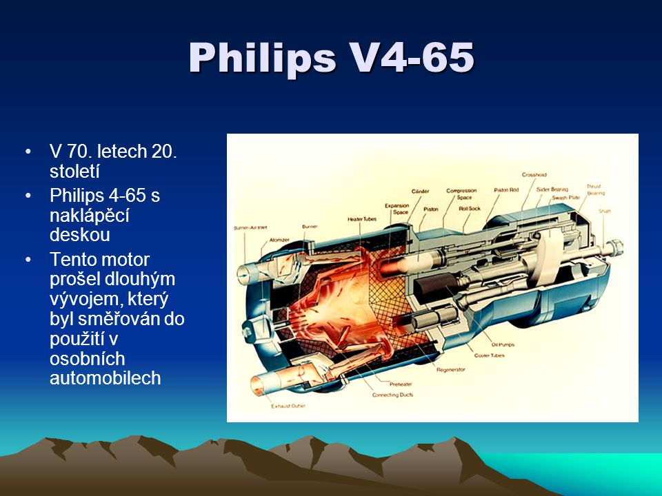 Philips V4-65 V 70. letech 20. století Philips 4-65 s naklápěcí deskou Tento motor prošel dlouhým vývojem, který byl směřován do použití v osobních au