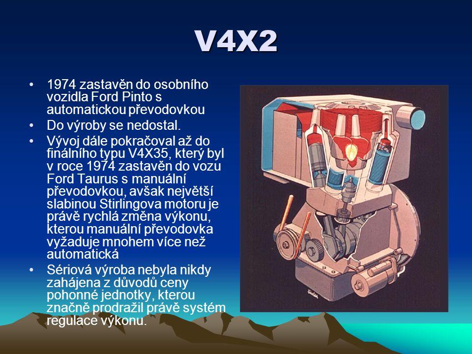 V4X2 1974 zastavěn do osobního vozidla Ford Pinto s automatickou převodovkou Do výroby se nedostal. Vývoj dále pokračoval až do finálního typu V4X35,