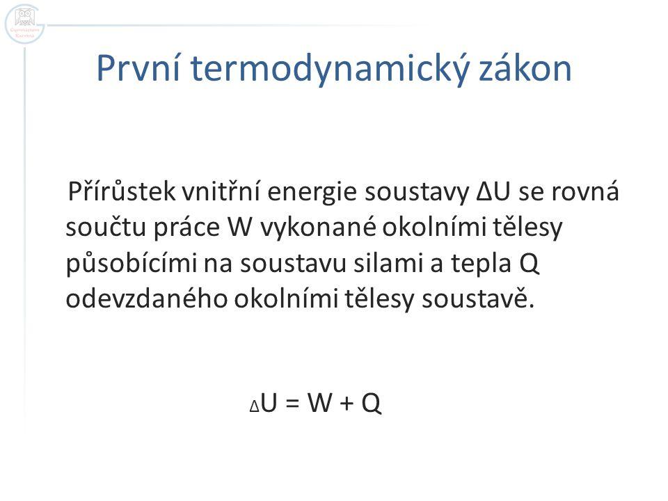 První termodynamický zákon Přírůstek vnitřní energie soustavy ΔU se rovná součtu práce W vykonané okolními tělesy působícími na soustavu silami a tepla Q odevzdaného okolními tělesy soustavě.