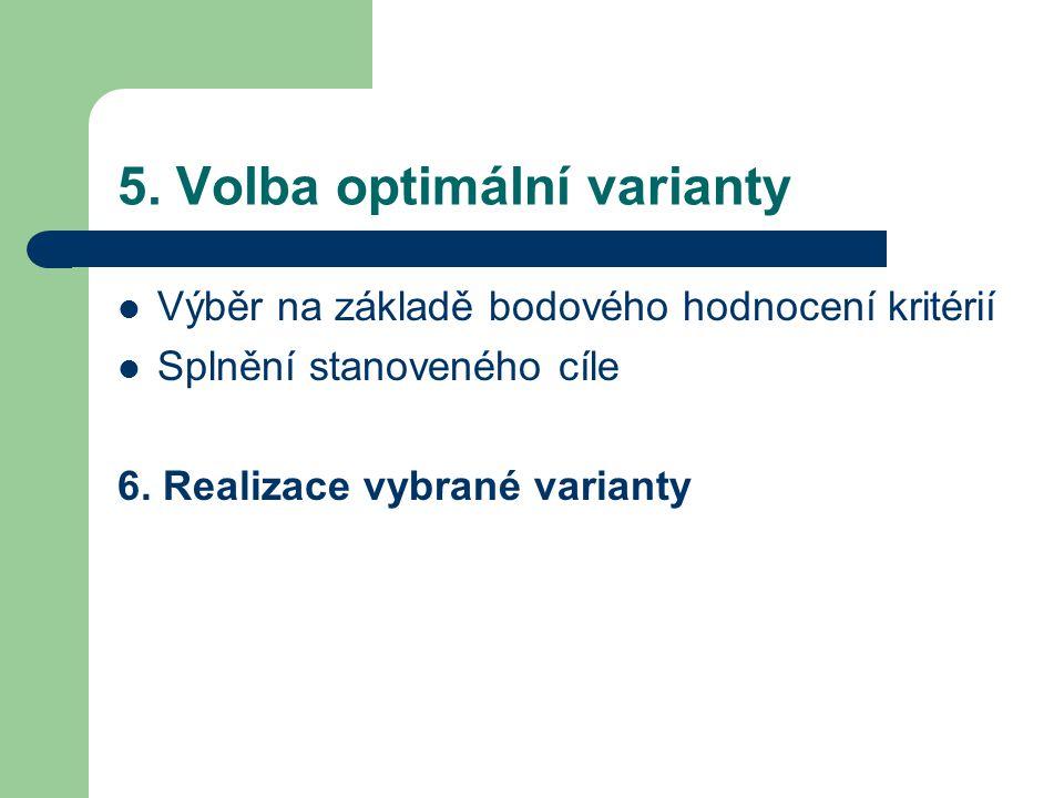 5. Volba optimální varianty Výběr na základě bodového hodnocení kritérií Splnění stanoveného cíle 6. Realizace vybrané varianty