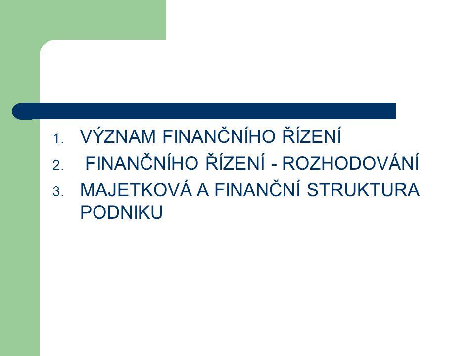1. VÝZNAM FINANČNÍHO ŘÍZENÍ 2. FINANČNÍHO ŘÍZENÍ - ROZHODOVÁNÍ 3. MAJETKOVÁ A FINANČNÍ STRUKTURA PODNIKU