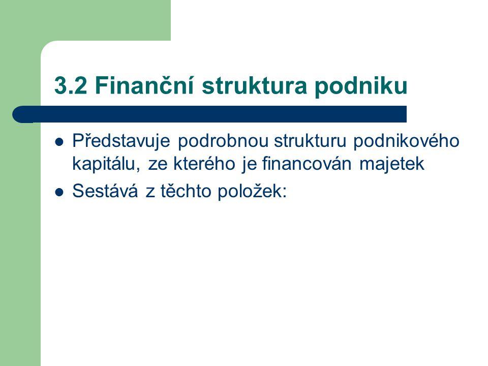 3.2 Finanční struktura podniku Představuje podrobnou strukturu podnikového kapitálu, ze kterého je financován majetek Sestává z těchto položek: