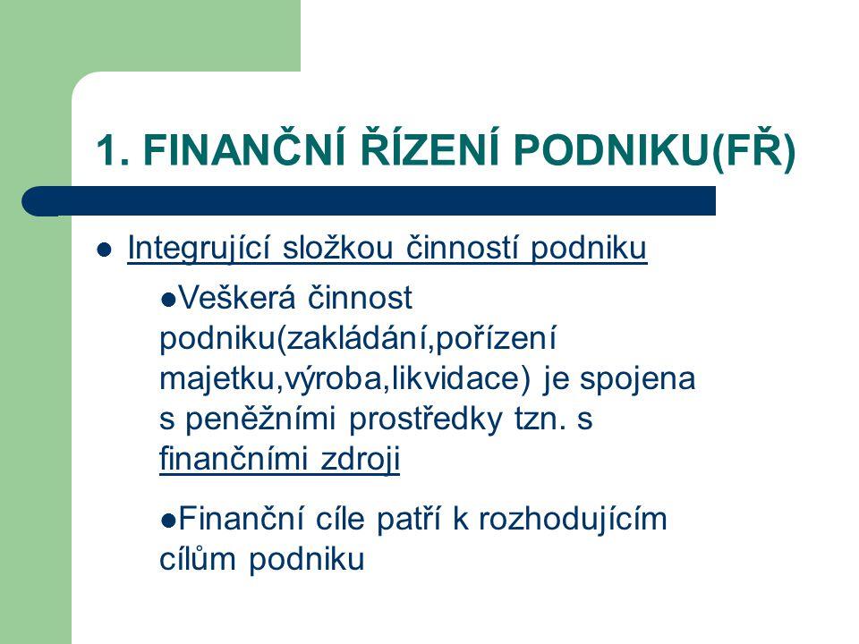 1. FINANČNÍ ŘÍZENÍ PODNIKU(FŘ) Integrující složkou činností podniku Veškerá činnost podniku(zakládání,pořízení majetku,výroba,likvidace) je spojena s