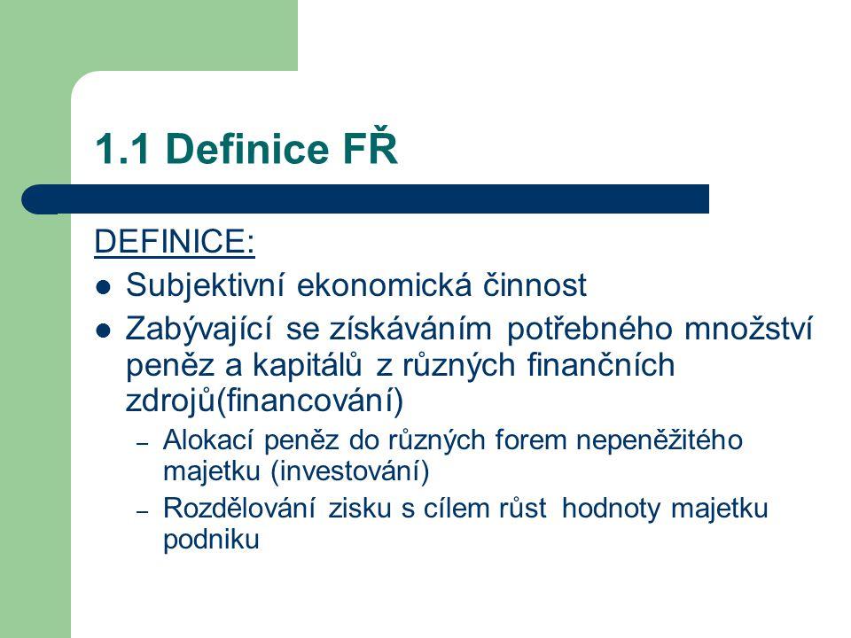 1.1 Definice FŘ DEFINICE: Subjektivní ekonomická činnost Zabývající se získáváním potřebného množství peněz a kapitálů z různých finančních zdrojů(financování) – Alokací peněz do různých forem nepeněžitého majetku (investování) – Rozdělování zisku s cílem růst hodnoty majetku podniku