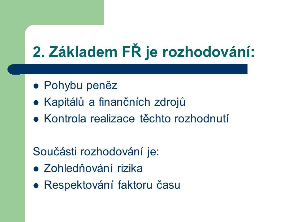 2. Základem FŘ je rozhodování: Pohybu peněz Kapitálů a finančních zdrojů Kontrola realizace těchto rozhodnutí Součásti rozhodování je: Zohledňování ri