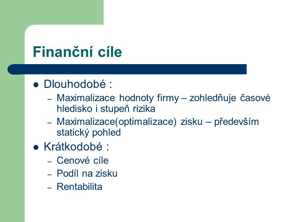 2.1 Fáze finančního rozhodování 1.Vymezení finančního problému a stanovení finančních cílů např.