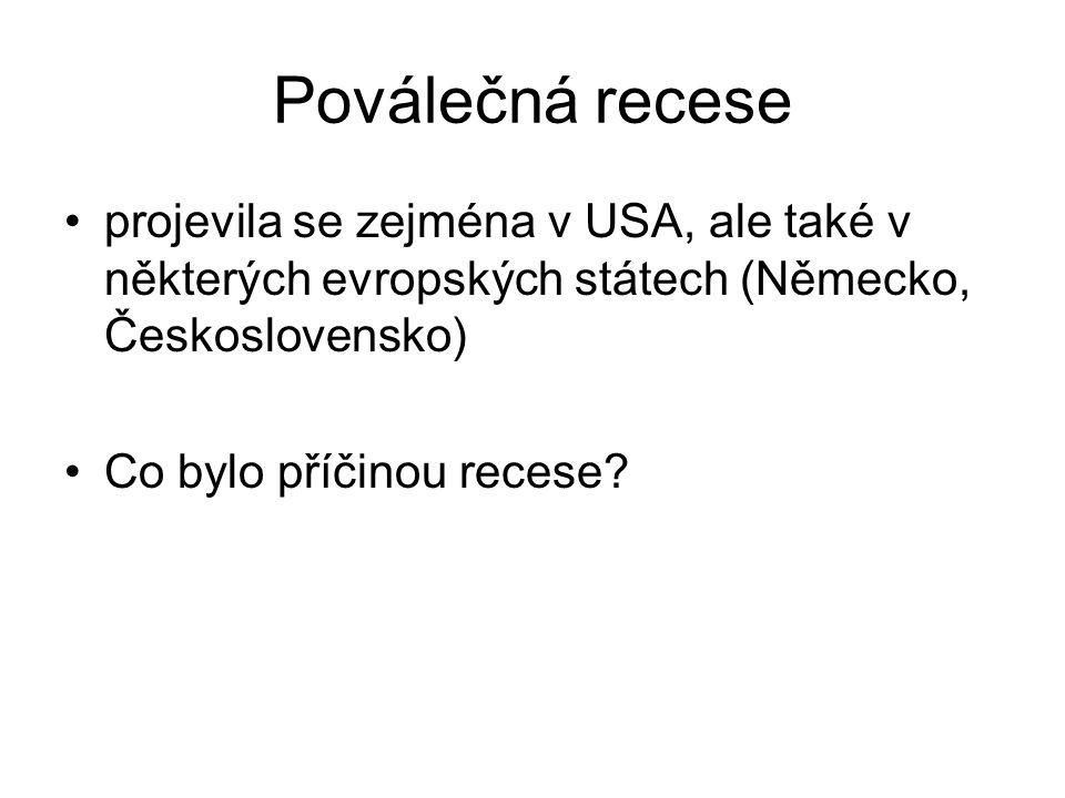Poválečná recese projevila se zejména v USA, ale také v některých evropských státech (Německo, Československo) Co bylo příčinou recese?