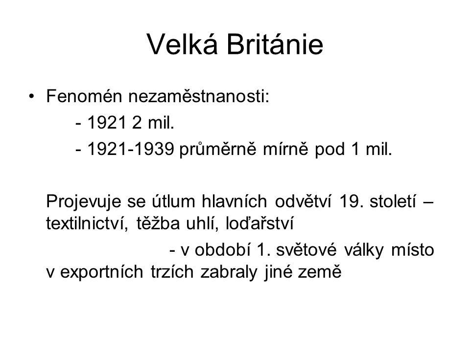 Velká Británie Fenomén nezaměstnanosti: - 1921 2 mil. - 1921-1939 průměrně mírně pod 1 mil. Projevuje se útlum hlavních odvětví 19. století – textilni