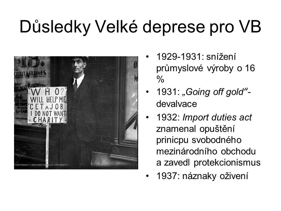 """Důsledky Velké deprese pro VB 1929-1931: snížení průmyslové výroby o 16 % 1931: """"Going off gold - devalvace 1932: Import duties act znamenal opuštění prinicpu svobodného mezinárodního obchodu a zavedl protekcionismus 1937: náznaky oživení"""