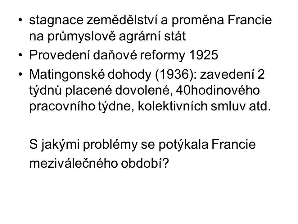 stagnace zemědělství a proměna Francie na průmyslově agrární stát Provedení daňové reformy 1925 Matingonské dohody (1936): zavedení 2 týdnů placené do