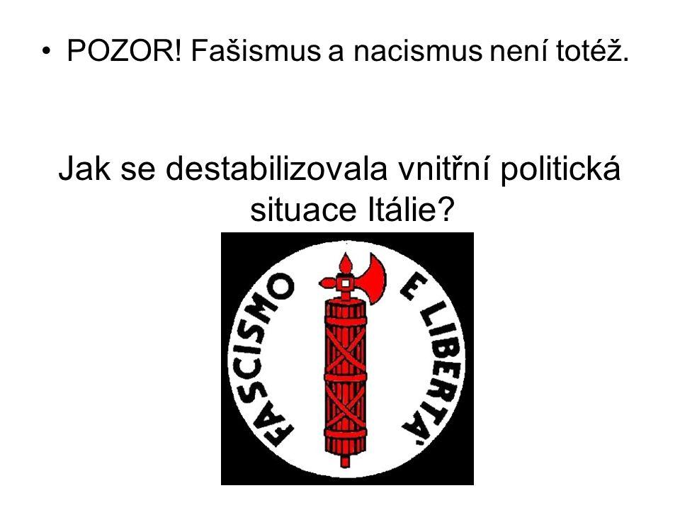 POZOR! Fašismus a nacismus není totéž. Jak se destabilizovala vnitřní politická situace Itálie?