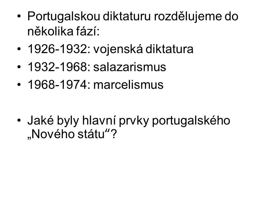 """Portugalskou diktaturu rozdělujeme do několika fází: 1926-1932: vojenská diktatura 1932-1968: salazarismus 1968-1974: marcelismus Jaké byly hlavní prvky portugalského """"Nového státu ?"""