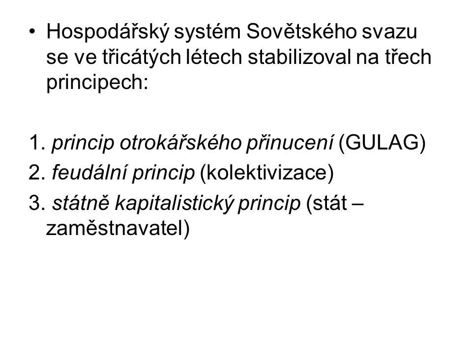 Hospodářský systém Sovětského svazu se ve třicátých létech stabilizoval na třech principech: 1. princip otrokářského přinucení (GULAG) 2. feudální pri