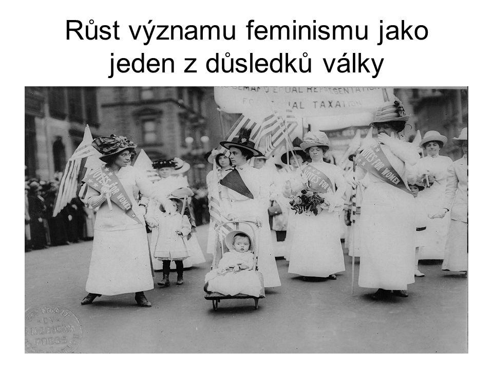 Růst významu feminismu jako jeden z důsledků války