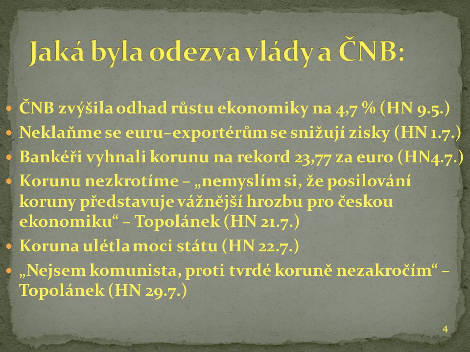 """ČNB zvýšila odhad růstu ekonomiky na 4,7 % (HN 9.5.) Neklaňme se euru–exportérům se snižují zisky (HN 1.7.) Bankéři vyhnali korunu na rekord 23,77 za euro (HN4.7.) Korunu nezkrotíme – """"nemyslím si, že posilování koruny představuje vážnější hrozbu pro českou ekonomiku – Topolánek (HN 21.7.) Koruna ulétla moci státu (HN 22.7.) """"Nejsem komunista, proti tvrdé koruně nezakročím – Topolánek (HN 29.7.) 4"""