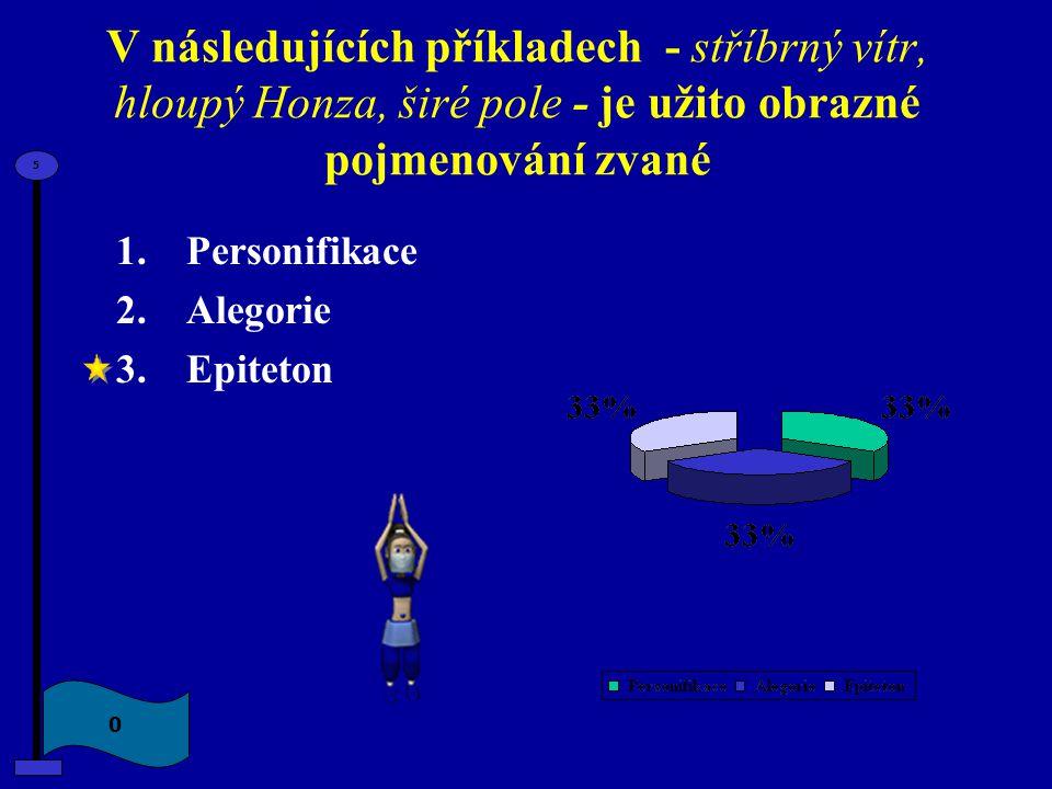 V následujících příkladech - stříbrný vítr, hloupý Honza, širé pole - je užito obrazné pojmenování zvané 1.Personifikace 2.Alegorie 3.Epiteton 0 5