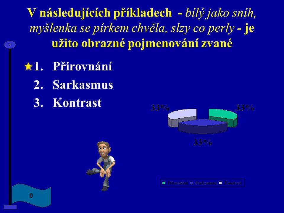 V následujících příkladech - bílý jako sníh, myšlenka se pírkem chvěla, slzy co perly - je užito obrazné pojmenování zvané 1.Přirovnání 2.Sarkasmus 3.
