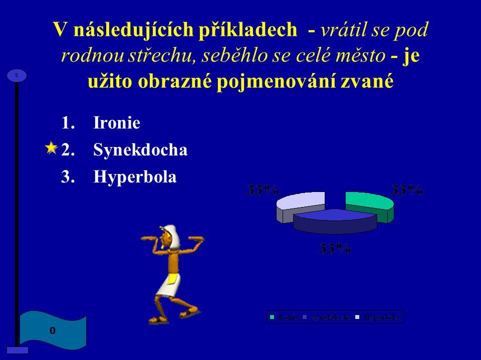 V následujících příkladech - vrátil se pod rodnou střechu, seběhlo se celé město - je užito obrazné pojmenování zvané 1.Ironie 2.Synekdocha 3.Hyperbol