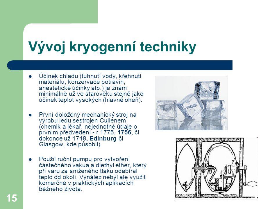 15 Vývoj kryogenní techniky Účinek chladu (tuhnutí vody, křehnutí materiálu, konzervace potravin, anestetické účinky atp.) je znám minimálně už ve sta