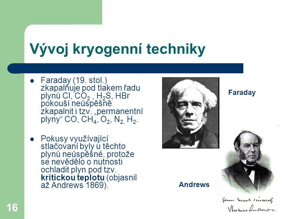 """16 Vývoj kryogenní techniky Faraday (19. stol.) zkapalňuje pod tlakem řadu plynů Cl, CO 2, H 2 S, HBr pokouší neúspěšně zkapalnit i tzv. """"permanentní"""
