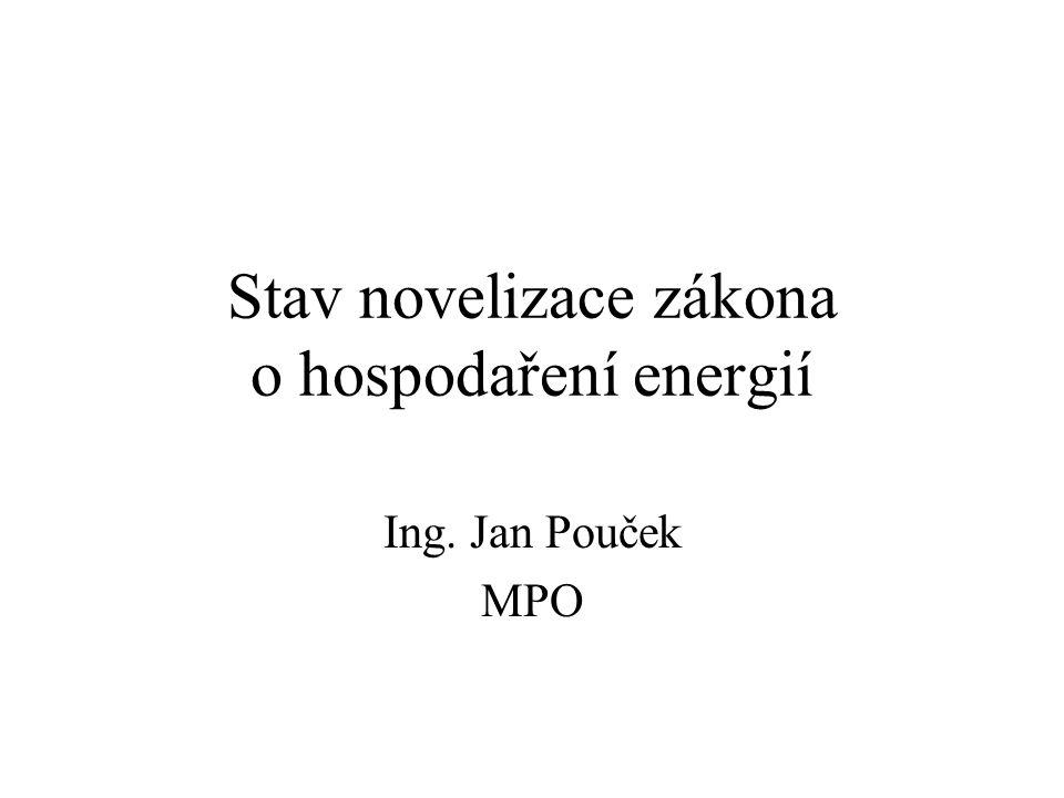 Stav novelizace zákona o hospodaření energií Ing. Jan Pouček MPO