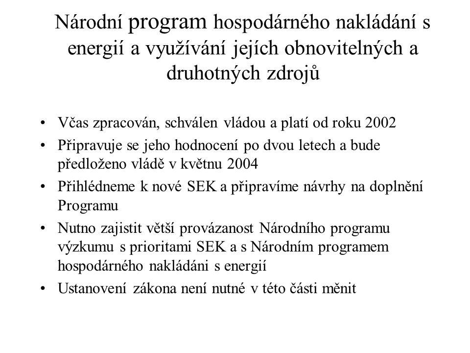 Národní program hospodárného nakládání s energií a využívání jejích obnovitelných a druhotných zdrojů Včas zpracován, schválen vládou a platí od roku 2002 Připravuje se jeho hodnocení po dvou letech a bude předloženo vládě v květnu 2004 Přihlédneme k nové SEK a připravíme návrhy na doplnění Programu Nutno zajistit větší provázanost Národního programu výzkumu s prioritami SEK a s Národním programem hospodárného nakládáni s energií Ustanovení zákona není nutné v této části měnit