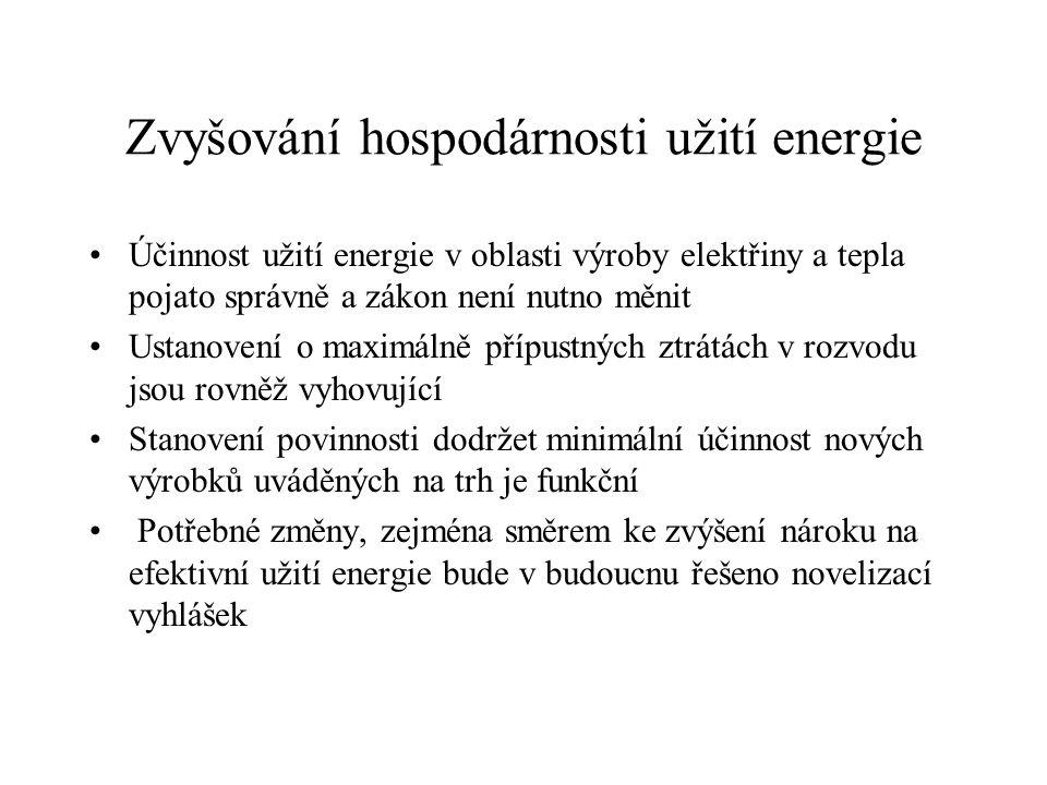 Zvyšování hospodárnosti užití energie Účinnost užití energie v oblasti výroby elektřiny a tepla pojato správně a zákon není nutno měnit Ustanovení o maximálně přípustných ztrátách v rozvodu jsou rovněž vyhovující Stanovení povinnosti dodržet minimální účinnost nových výrobků uváděných na trh je funkční Potřebné změny, zejména směrem ke zvýšení nároku na efektivní užití energie bude v budoucnu řešeno novelizací vyhlášek