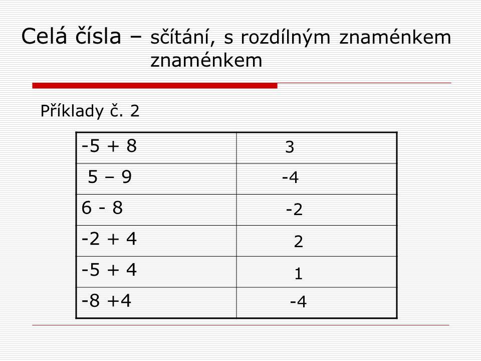 Celá čísla – sčítání, s rozdílným znaménkem znaménkem Příklady č.