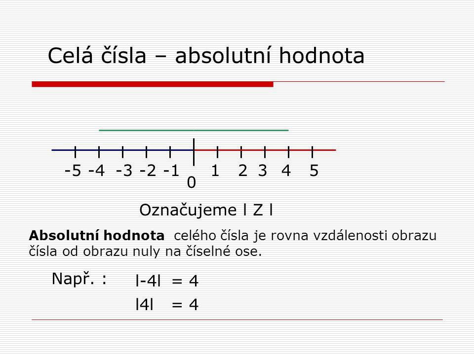 Celá čísla – absolutní hodnota 0 12435-2-3-4-5 Označujeme l Z l Absolutní hodnota celého čísla je rovna vzdálenosti obrazu čísla od obrazu nuly na číselné ose.