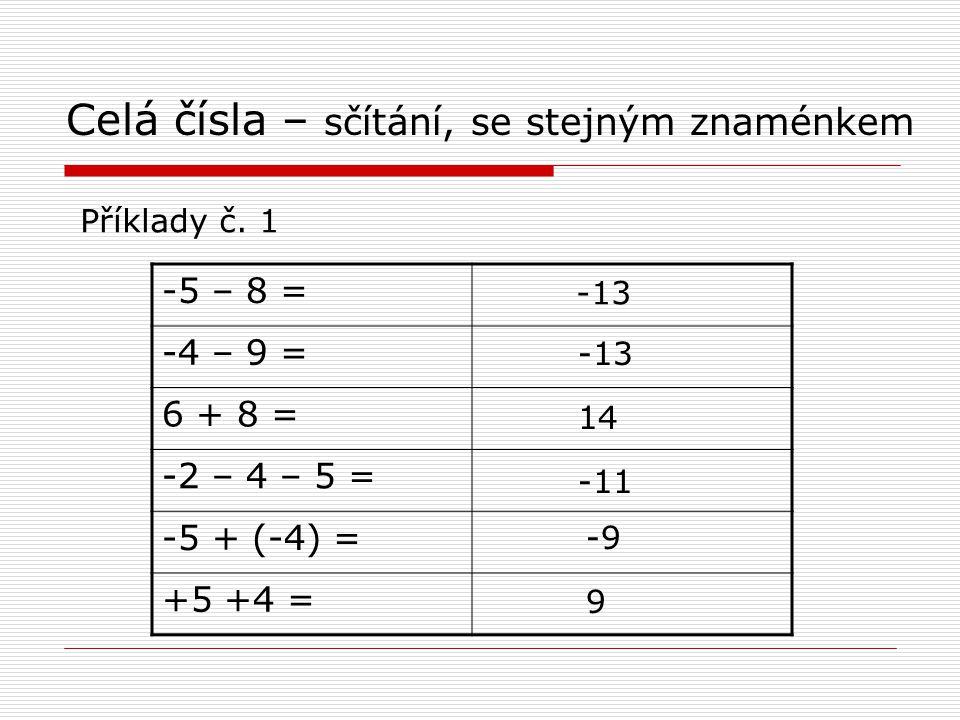 Celá čísla – sčítání, se stejným znaménkem Příklady č.
