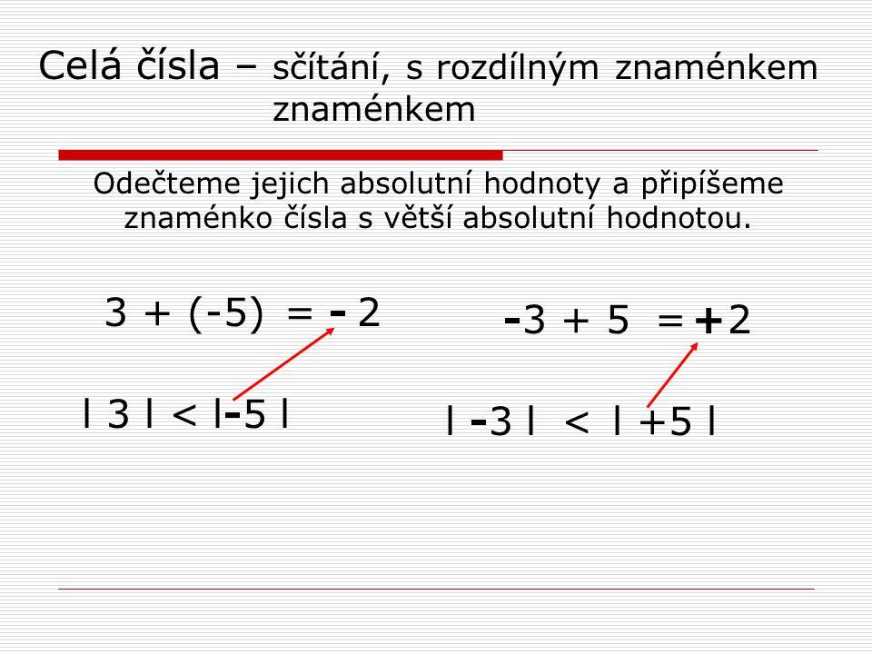 Celá čísla – sčítání, s rozdílným znaménkem znaménkem Odečteme jejich absolutní hodnoty a připíšeme znaménko čísla s větší absolutní hodnotou.