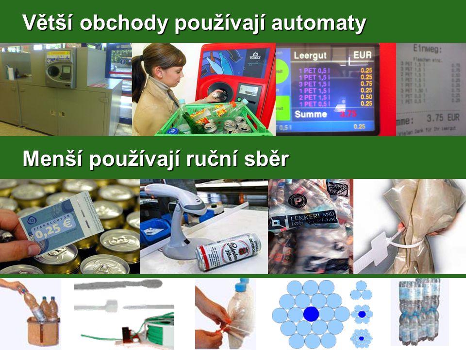Větší obchody používají automaty Větší obchody používají automaty Menší používají ruční sběr Menší používají ruční sběr