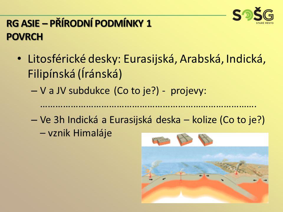 Štíty a tabule: (co to je?) : sibiřský (aldanský) štít, arabský štít, indický štít, čínská tabule Vrásnění: – 1h – J okraj sibiřského štítu (Altaj, Sajany,…) – 1h/2h – území mezi sibiřským štítem a ruskou tabulí – 2h – V Asie a Zadní Indie – 3h/4h – nejvyšší horská pásma a ostrovy J a JV Asie RG ASIE – PŘÍRODNÍ PODMÍNKY 1 POVRCH