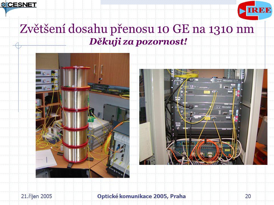 21.říjen 2005Optické komunikace 2005, Praha20 Zvětšení dosahu přenosu 10 GE na 1310 nm Děkuji za pozornost!