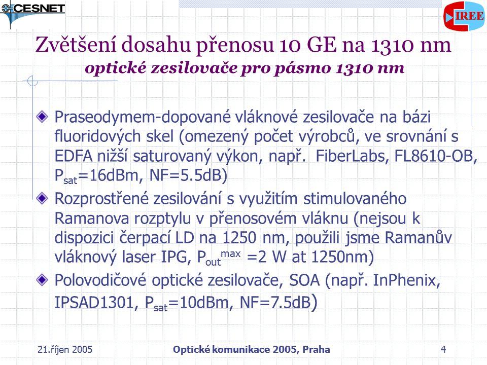 21.říjen 2005Optické komunikace 2005, Praha4 Zvětšení dosahu přenosu 10 GE na 1310 nm optické zesilovače pro pásmo 1310 nm Praseodymem-dopované vláknové zesilovače na bázi fluoridových skel (omezený počet výrobců, ve srovnání s EDFA nižší saturovaný výkon, např.