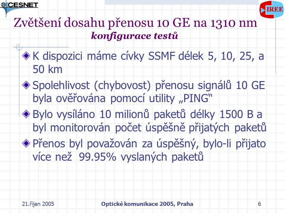 """21.říjen 2005Optické komunikace 2005, Praha6 Zvětšení dosahu přenosu 10 GE na 1310 nm konfigurace testů K dispozici máme cívky SSMF délek 5, 10, 25, a 50 km Spolehlivost (chybovost) přenosu signálů 10 GE byla ověřována pomocí utility """"PING Bylo vysíláno 10 milionů paketů délky 1500 B a byl monitorován počet úspěšně přijatých paketů Přenos byl považován za úspěšný, bylo-li přijato více než 99.95% vyslaných paketů"""