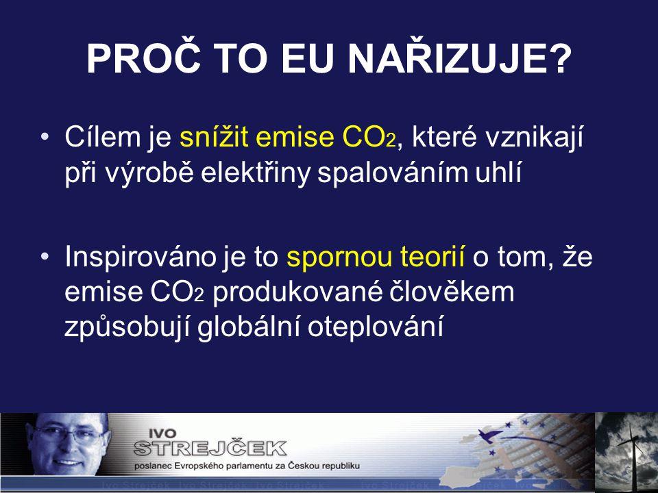 PROČ TO EU NAŘIZUJE? Cílem je snížit emise CO 2, které vznikají při výrobě elektřiny spalováním uhlí Inspirováno je to spornou teorií o tom, že emise