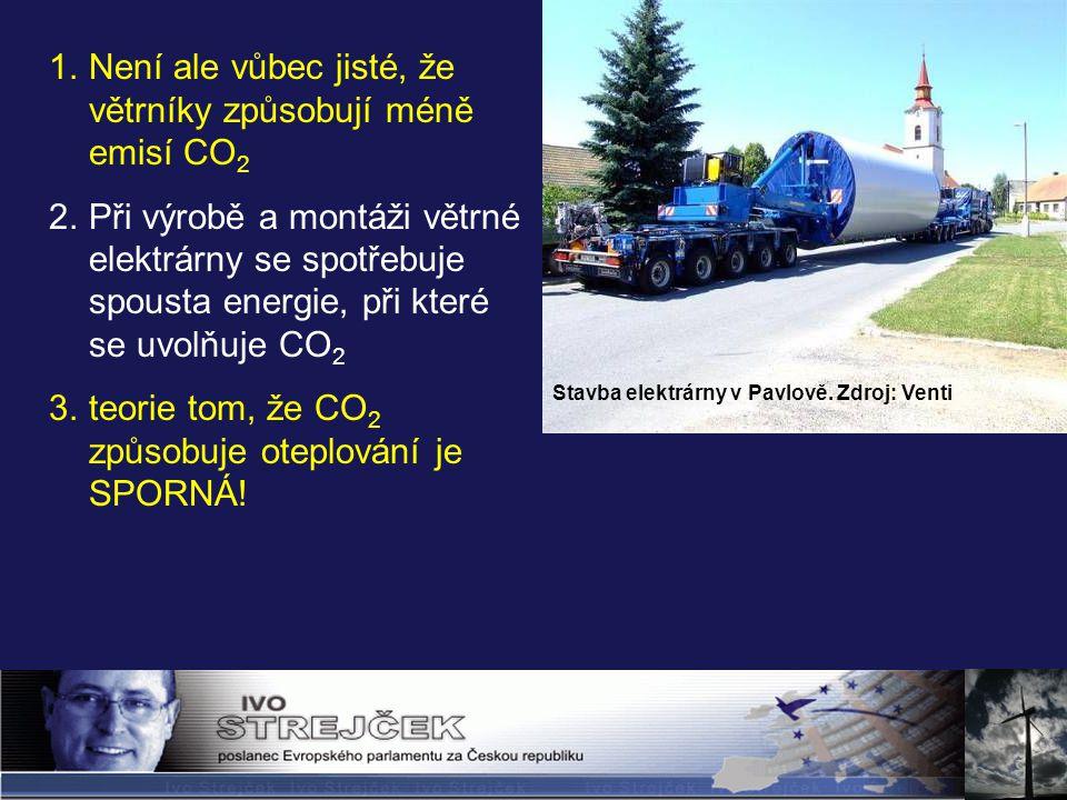 Stavba elektrárny v Pavlově. Zdroj: Venti 1.Není ale vůbec jisté, že větrníky způsobují méně emisí CO 2 2.Při výrobě a montáži větrné elektrárny se sp