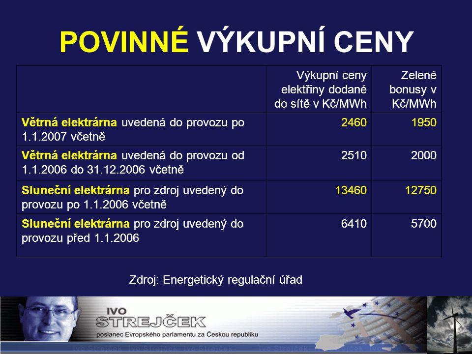 POVINNÉ VÝKUPNÍ CENY Výkupní ceny elektřiny dodané do sítě v Kč/MWh Zelené bonusy v Kč/MWh Větrná elektrárna uvedená do provozu po 1.1.2007 včetně 24601950 Větrná elektrárna uvedená do provozu od 1.1.2006 do 31.12.2006 včetně 25102000 Sluneční elektrárna pro zdroj uvedený do provozu po 1.1.2006 včetně 1346012750 Sluneční elektrárna pro zdroj uvedený do provozu před 1.1.2006 64105700 Zdroj: Energetický regulační úřad