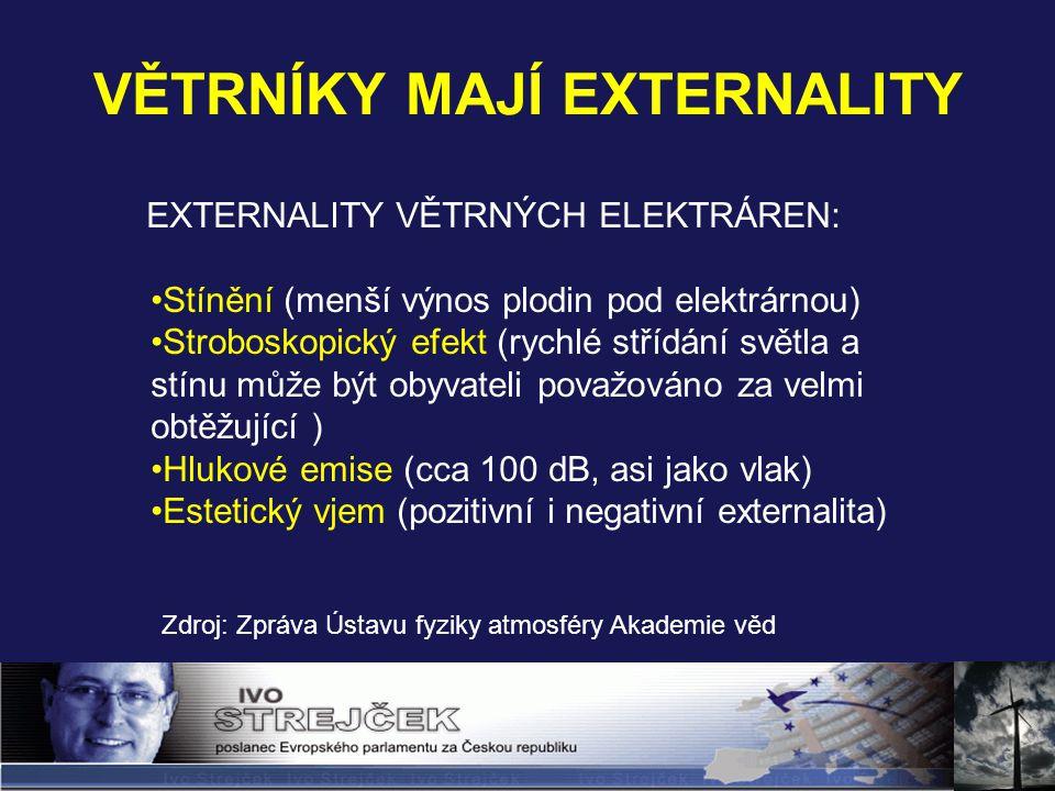 VĚTRNÍKY MAJÍ EXTERNALITY Zdroj: Zpráva Ústavu fyziky atmosféry Akademie věd EXTERNALITY VĚTRNÝCH ELEKTRÁREN: Stínění (menší výnos plodin pod elektrárnou) Stroboskopický efekt (rychlé střídání světla a stínu může být obyvateli považováno za velmi obtěžující ) Hlukové emise (cca 100 dB, asi jako vlak) Estetický vjem (pozitivní i negativní externalita)