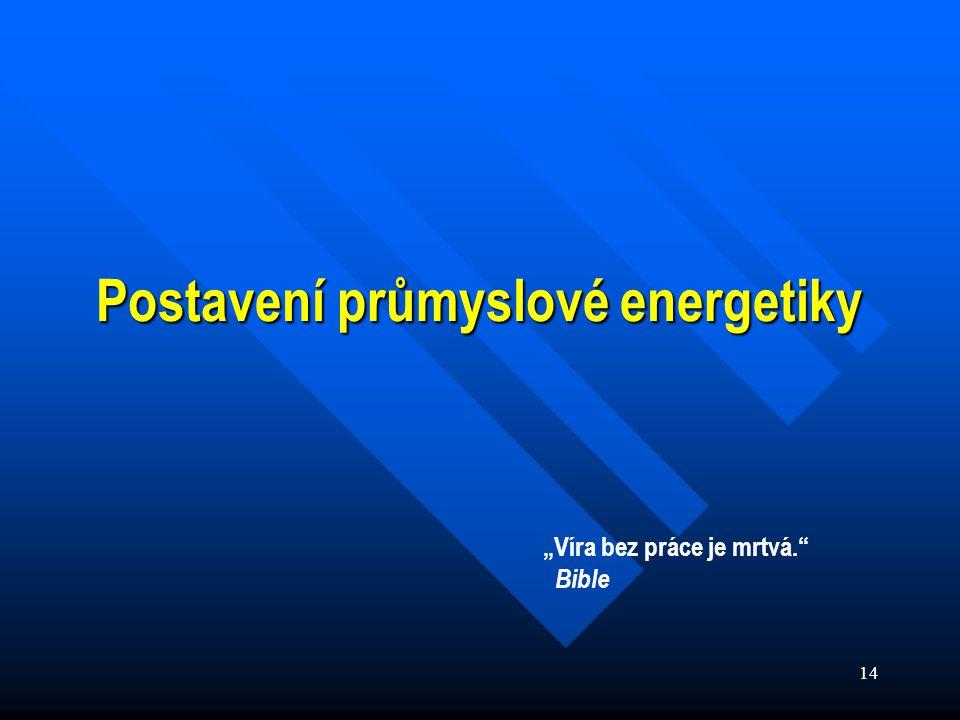 """14 Postavení průmyslové energetiky """"Víra bez práce je mrtvá. Bible"""