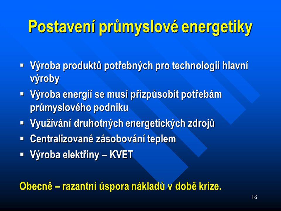 16 Postavení průmyslové energetiky  Výroba produktů potřebných pro technologii hlavní výroby  Výroba energií se musí přizpůsobit potřebám průmyslového podniku  Využívání druhotných energetických zdrojů  Centralizované zásobování teplem  Výroba elektřiny – KVET Obecně – razantní úspora nákladů v době krize.
