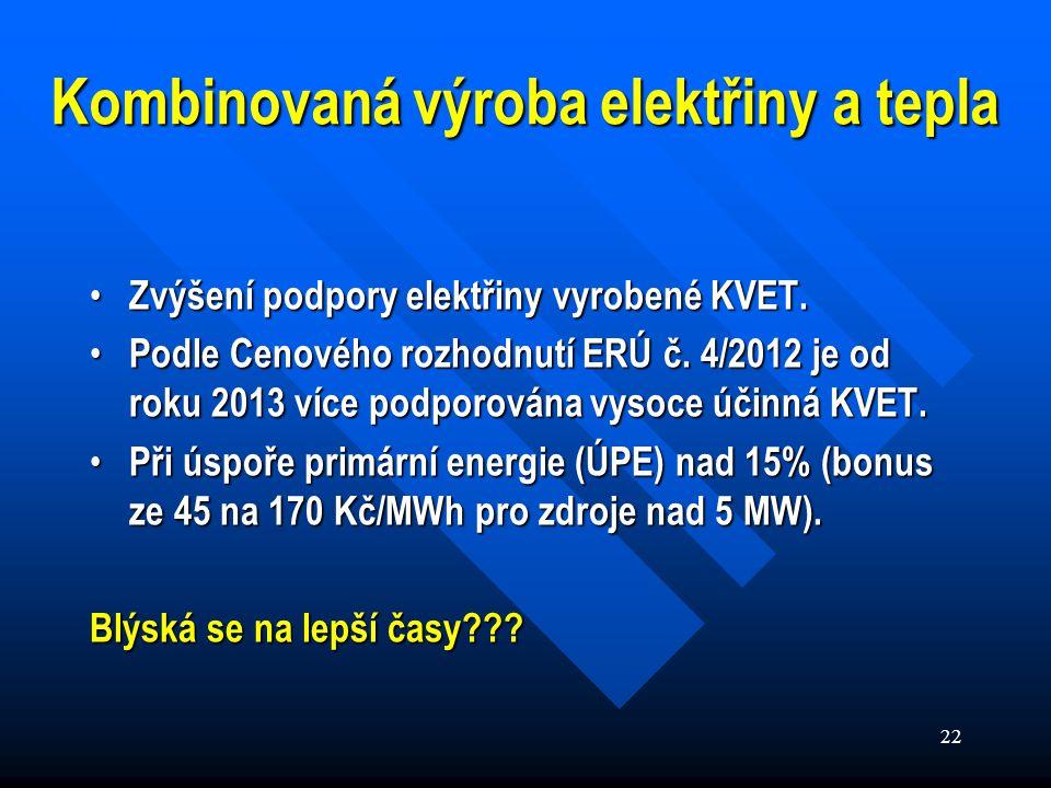 22 Kombinovaná výroba elektřiny a tepla Zvýšení podpory elektřiny vyrobené KVET.
