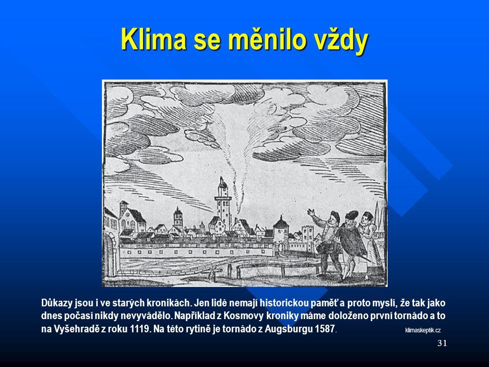 31 Klima se měnilo vždy Důkazy jsou i ve starých kronikách.