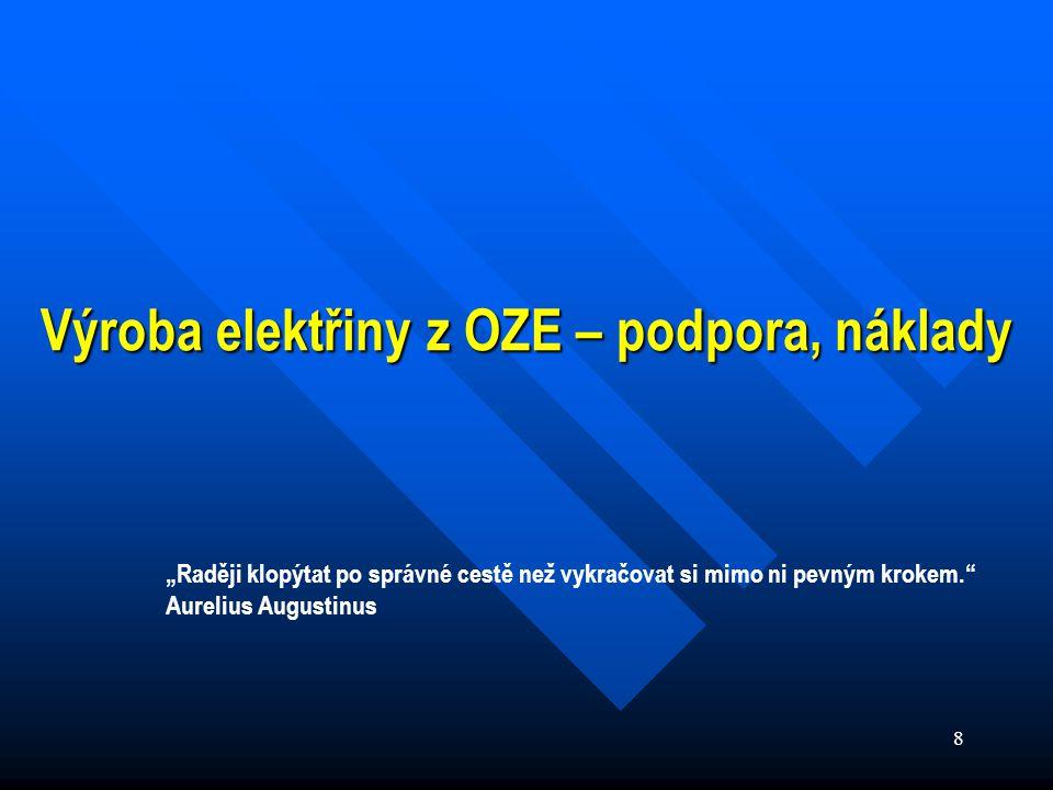 """8 Výroba elektřiny z OZE – podpora, náklady """"Raději klopýtat po správné cestě než vykračovat si mimo ni pevným krokem. Aurelius Augustinus"""