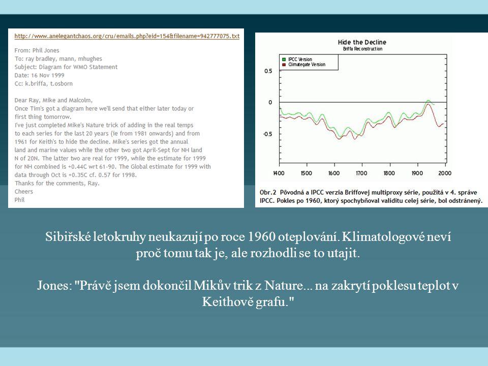 Sibiřské letokruhy neukazují po roce 1960 oteplování.