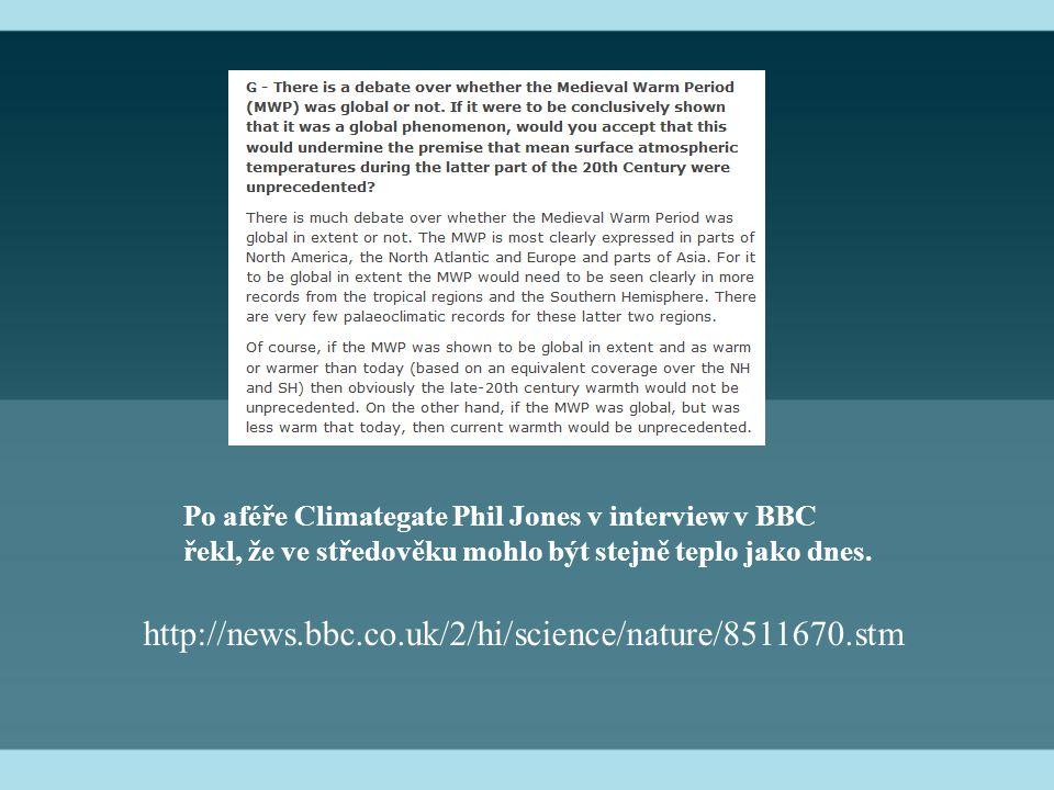 Po aféře Climategate Phil Jones v interview v BBC řekl, že ve středověku mohlo být stejně teplo jako dnes.